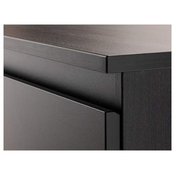 KULLEN Komoda se 6 zásuvkami, černohnědá, 140x72 cm