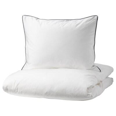 KUNGSBLOMMA Povlečení na jednolůžko, bílá/šedá, 150x200/50x60 cm