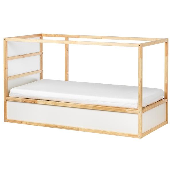 KURA Oboustranná postel, bílá/borovice, 90x200 cm