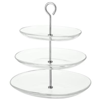 KVITTERA 3patrový servírovací tác čiré sklo/nerezavějící ocel 31 cm 27 cm 34 cm