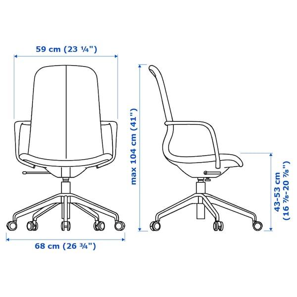 LÅNGFJÄLL Kancelářská židle s područkami, Gunnared modrá/bílá
