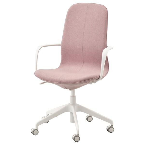 LÅNGFJÄLL Kancelářská židle s područkami, Gunnared světle hnědo-růžová/bílá