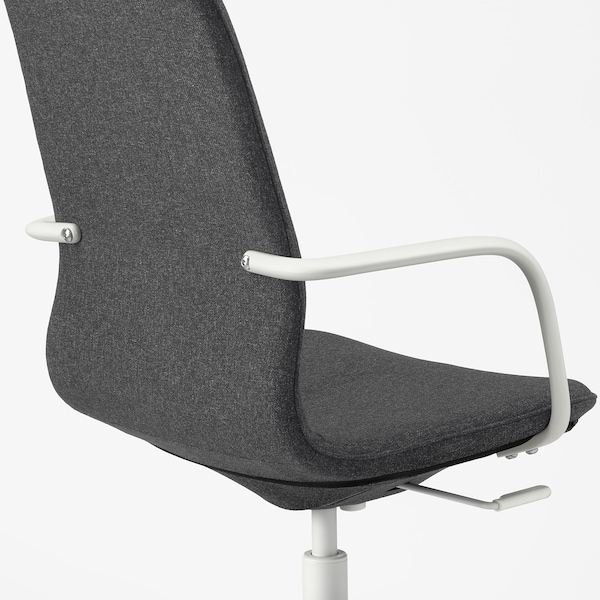 LÅNGFJÄLL Kancelářská židle s područkami, Gunnared tmavě šedá/bílá