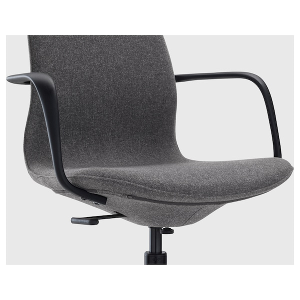 LÅNGFJÄLL Kancelářská židle s područkami, Gunnared tmavě šedá/černá