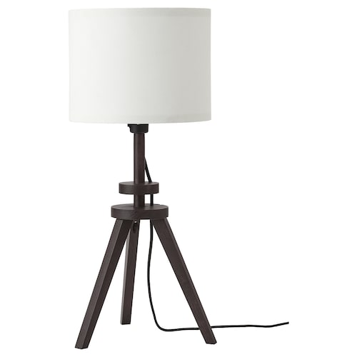 LAUTERS stolní lampa hnědá jasan/bílá 24 cm 57 cm 27 cm