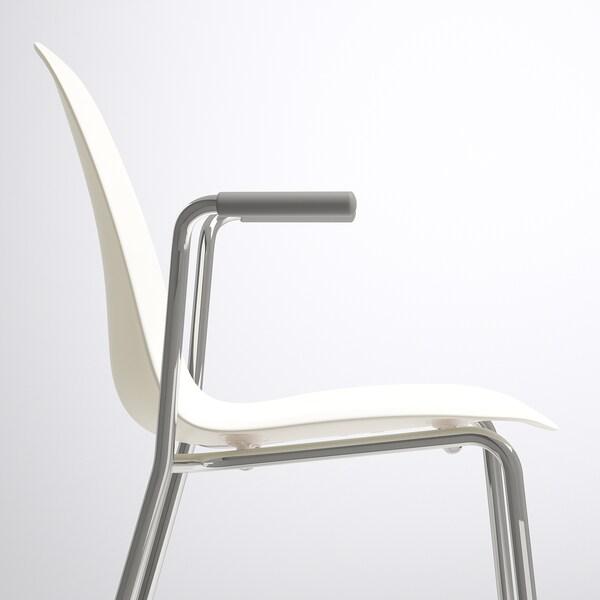 LEIFARNE Židle s područkami, bílá/Dietmar pochromované