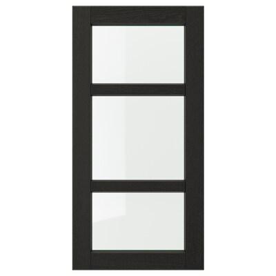 LERHYTTAN Prosklené dveře, černé mořidlo, 40x80 cm