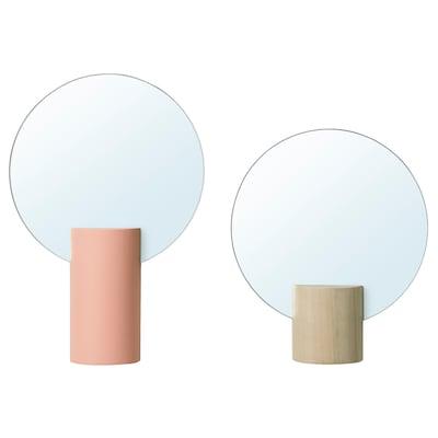 LIHOLEN Zrcadlo, sada 2 ks, růžová/osika