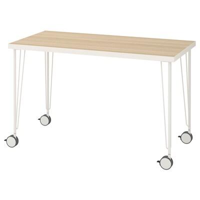 LINNMON / KRILLE Stůl, bílá vz. bíle moř. dub/bílá, 120x60 cm
