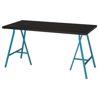 LINNMON / LERBERG Stůl, černohnědá/modrá, 150x75 cm