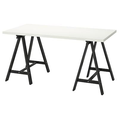LINNMON / ODDVALD Stůl, bílá/černá, 150x75 cm