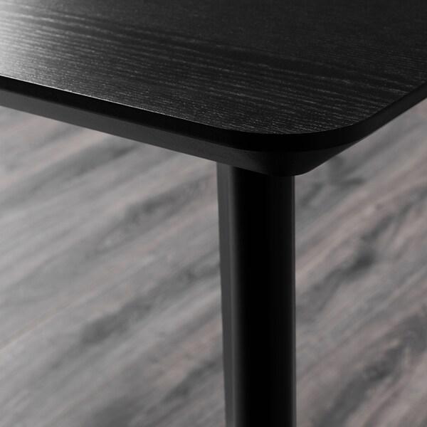 LISABO / ODGER Stůl a 4 židle, černá/béžová, 140x78 cm