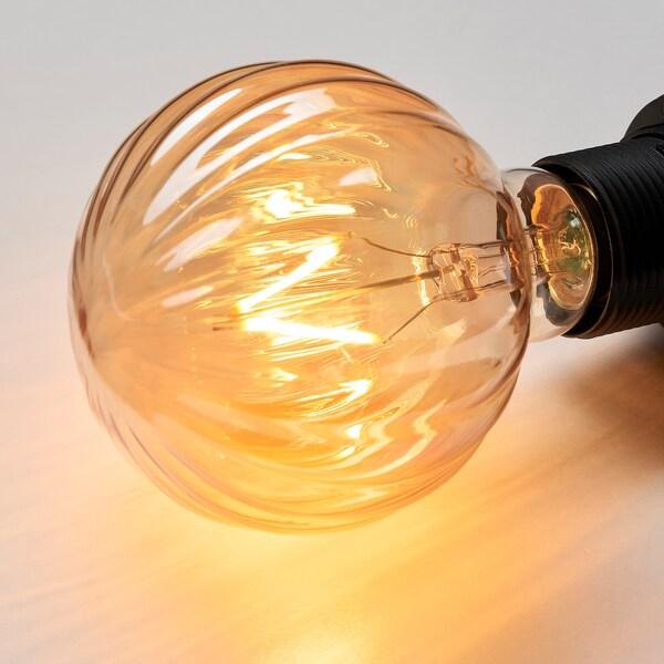 LUNNOM Žárovka LED, E27 80 lm, kulatá proužky/hnědé čiré sklo