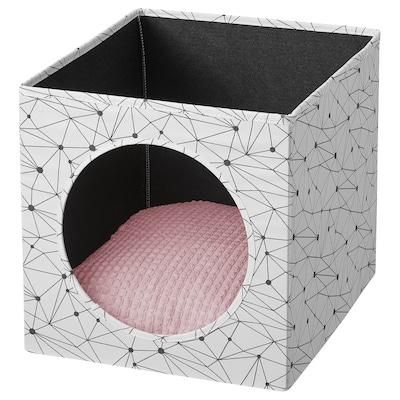 LURVIG Domek pro kočky a polštářem, bílá/růžová, 33x38x33 cm