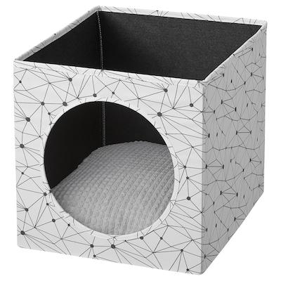 LURVIG Domek pro kočky a polštářem, bílá/světle šedá, 33x38x33 cm