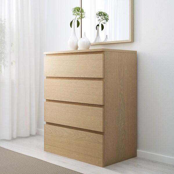 MALM Komoda se 4 zásuvkami, bíle mořená dubová dýha, 80x100 cm