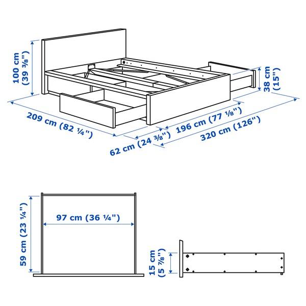 MALM Vysoký rám postele, 4 úložné díly, bílá, 180x200 cm
