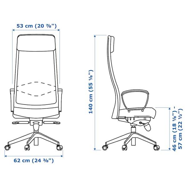 MARKUS kancelářská židle Glose černá 110 kg 62 cm 60 cm 129 cm 140 cm 53 cm 47 cm 46 cm 57 cm