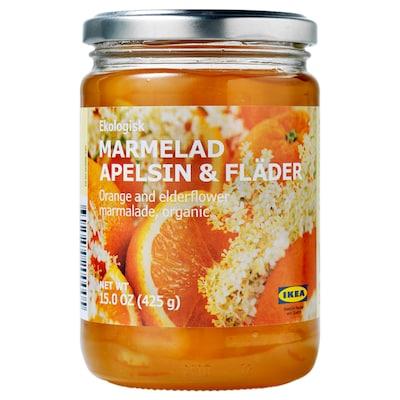 MARMELAD APELSIN & FLÄDER pomerančová a bezová marmeláda bio 425 g