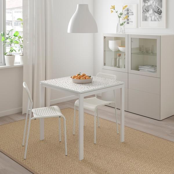 MELLTORP Stůl, mozaikový vzor/bílá, 75x75 cm