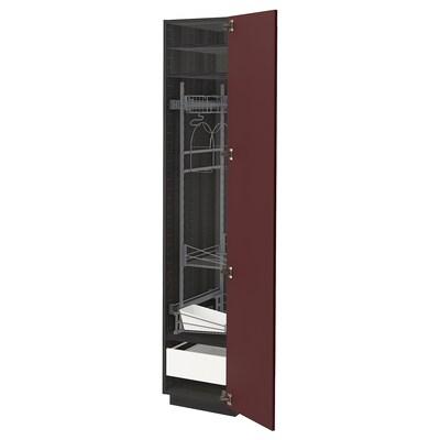 METOD / FÖRVARA Vys. sk. na úkl. prostředky, černá Kallarp/lesklá tmavě červeno-hnědá, 40x60x200 cm
