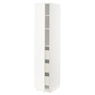 METOD / FÖRVARA Vys. sk. + zásuvky, bílá/Veddinge bílá, 40x60x200 cm