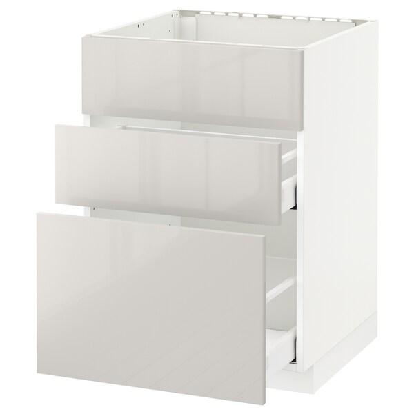 METOD / MAXIMERA skříňka na dřez+2 čela/2 zásuvky bílá/Ringhult světle šedá 60.0 cm 61.8 cm 88.0 cm 60.0 cm 80.0 cm
