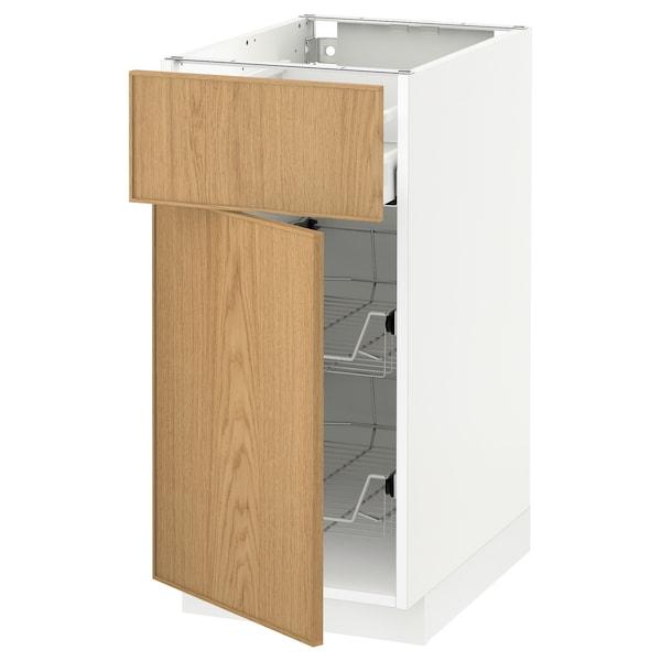 METOD / MAXIMERA skříňka s drát. košem/zásuvka/dveře bílá/Ekestad dub 40.0 cm 61.9 cm 88.0 cm 60.0 cm 80.0 cm