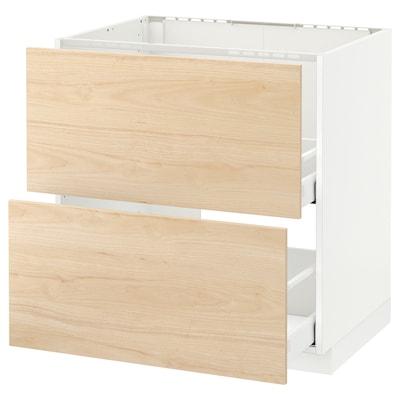 METOD / MAXIMERA Skříňka+dřez+2 čela/2 zásuvky, bílá/Askersund efekt světlého jasanu, 80x60 cm