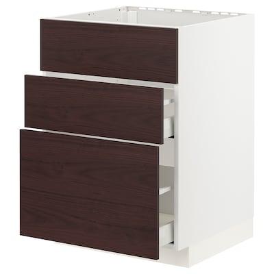 METOD / MAXIMERA Skříňka na dřez+2 čela/2 zásuvky, bílá Askersund/tmavě hnědá vzor jasan, 60x60 cm