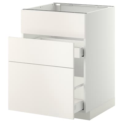 METOD / MAXIMERA Skříňka na dřez+2 čela/2 zásuvky, bílá/Veddinge bílá, 60x60 cm