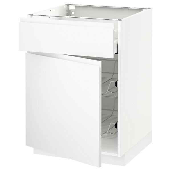 METOD / MAXIMERA Skříňka s drát. košem/zásuvka/dveře, bílá/Voxtorp matně bílá, 60x60 cm