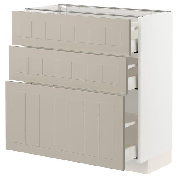 METOD / MAXIMERA Spod. skříňka se 3 zásuvkami, bílá/Stensund béžová, 80x37 cm