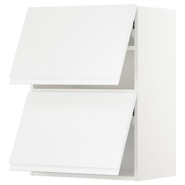 METOD Nást. horizont. sk+2 dvířka, bílá/Voxtorp lesklá bílá, 60x80 cm