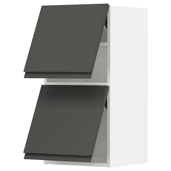 METOD Nást. horizont. sk+2 dvířka, bílá/Voxtorp tmavě šedá, 40x80 cm
