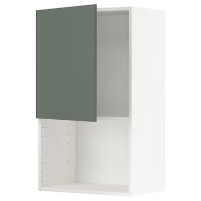 METOD Nást. skříňka na mikr. troubu, bílá/Bodarp šedo-zelená, 60x100 cm