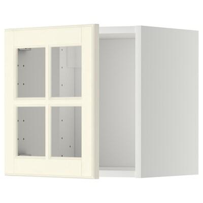 METOD Nást. skříňka/proskl. dvířka, bílá/Bodbyn krémová, 40x40 cm
