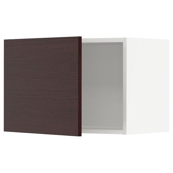 METOD Nástěnná skříňka, bílá Askersund/tmavě hnědá vzor jasan, 60x40 cm