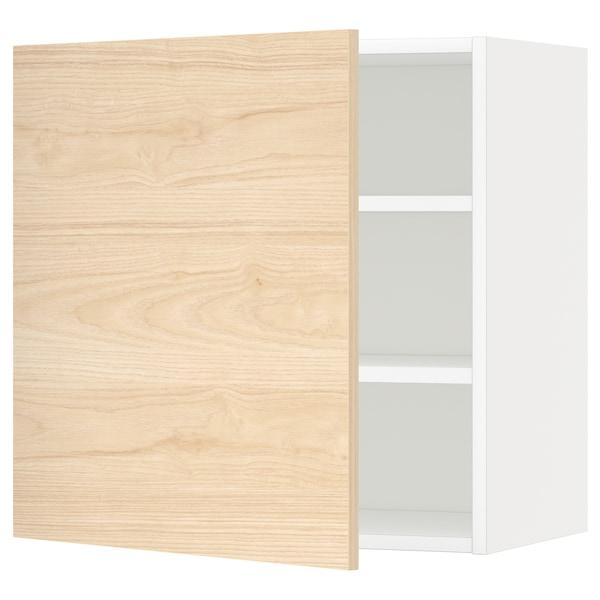 METOD Nástěnná skříňka s policemi, bílá/Askersund efekt světlého jasanu, 60x60 cm