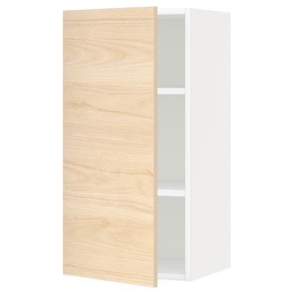 METOD Nástěnná skříňka s policemi, bílá/Askersund efekt světlého jasanu, 40x80 cm
