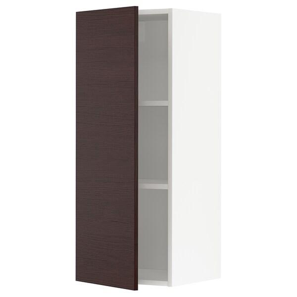 METOD Nástěnná skříňka s policemi, bílá Askersund/tmavě hnědá vzor jasan, 40x100 cm