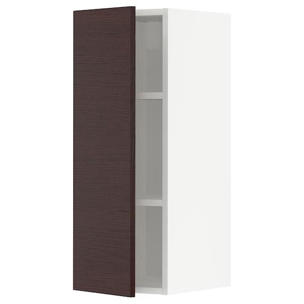 METOD Nástěnná skříňka s policemi, bílá Askersund/tmavě hnědá vzor jasan, 30x80 cm