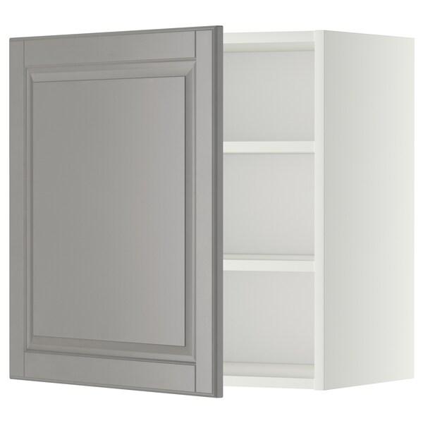 METOD Nástěnná skříňka s policemi, bílá/Bodbyn šedá, 60x60 cm