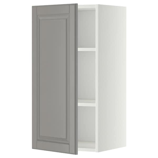METOD Nástěnná skříňka s policemi, bílá/Bodbyn šedá, 40x80 cm