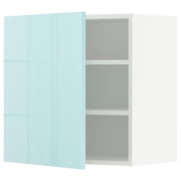 METOD Nástěnná skříňka s policemi, bílá Järsta/lesklá světle tyrkysový, 60x60 cm