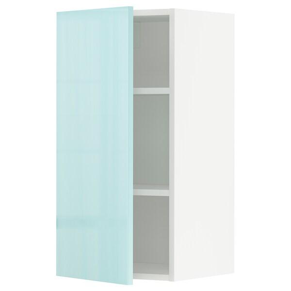 METOD Nástěnná skříňka s policemi, bílá Järsta/lesklá světle tyrkysový, 40x80 cm