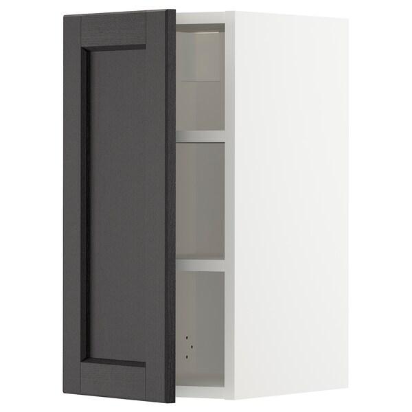 METOD Nástěnná skříňka s policemi, bílá/Lerhyttan černé mořidlo, 30x60 cm