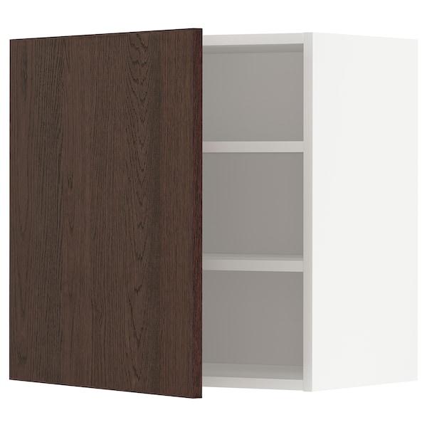METOD Nástěnná skříňka s policemi, bílá/Sinarp hnědá, 60x60 cm