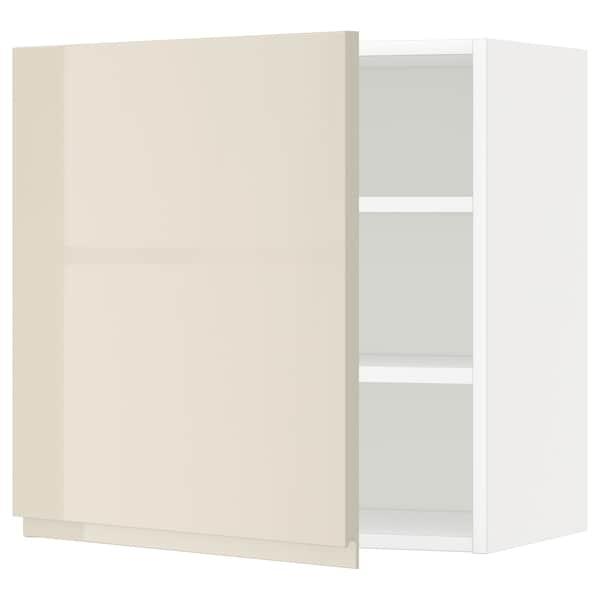 METOD Nástěnná skříňka s policemi, bílá/Voxtorp lesklá světle béžová, 60x60 cm