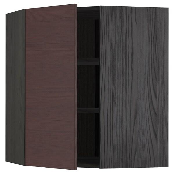 METOD Rohová nástěnná skříňka s policemi, černá Askersund/tmavě hnědá vzor jasan, 68x80 cm